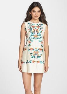 Cynthia Steffe Embroidered Dupioni Shift Dress