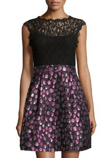 Cynthia Steffe Falling Poppies Lace Bodice Jacquard Dress, Rich Black