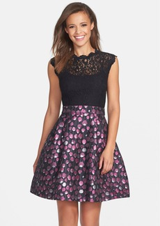 Cynthia Steffe 'Falling Poppies' Lace Bodice Jacquard Fit & Flare Dress