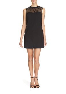 CYNTHIA STEFFE Flocked Velvet Dot Shift Dress