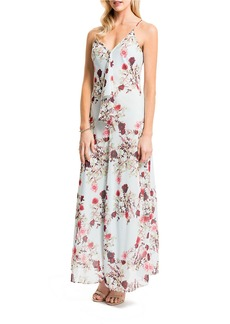 CYNTHIA STEFFE Floral Draped Maxi Dress