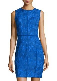 Cynthia Steffe Floral-Embroidered Sheath Dress, Blue Marine