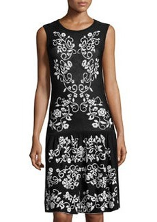 Cynthia Steffe Floral-Print Drop-Waist Dress, Rich Black