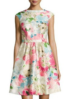 Cynthia Steffe Floral-Print Jacquard Fit-and-Flare Dress, Pink Peony