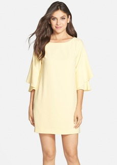 Cynthia Steffe Flutter Sleeve Crepe Shift Dress