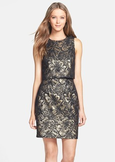 Cynthia Steffe 'Heather' Metallic Jacquard Popover Dress