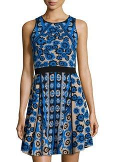 Cynthia Steffe Inga Combo-Print Fit & Flare Dress, Rich Black