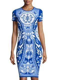 Cynthia Steffe Jacquard Short-Sleeve Sheath Dress, Waterfall