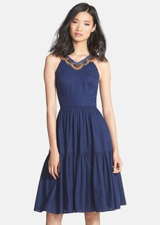 Cynthia Steffe 'Jett' Embellished Tiered Jacquard Midi Dress