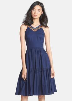 Cynthia Steffe 'Jett' Embellished Tiered Jacquard Midi Dress