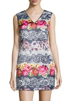 Cynthia Steffe Josie Floral-Print Shift Dress, Rich Black