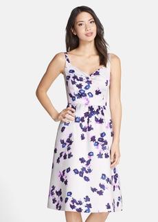 Cynthia Steffe 'Katrina' Floral Print Duchess Satin Midi Dress
