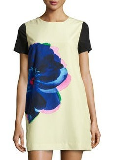 Cynthia Steffe Kayte Floral Short-Sleeve Shift Dress, Pale Willow
