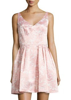 Cynthia Steffe Kinley Floral-Print V-Neck Dress, Pink Pearl