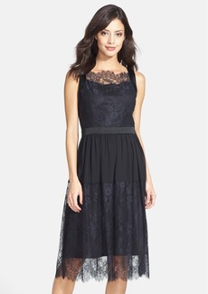 Cynthia Steffe Lace & Chiffon Midi Dress