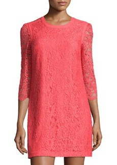 Cynthia Steffe Lace 3/4-Sleeve Keyhole Dress, Pomegranate