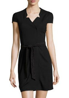 Cynthia Steffe Lace-Belt Wrap Dress, Black
