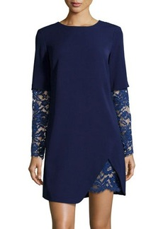 Cynthia Steffe Lace-Trim Ponte Shift Dress