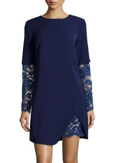 Cynthia Steffe Lace-Trim Ponte Shift Dress, Deep Indigo
