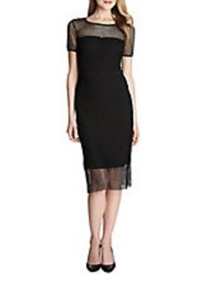 CYNTHIA STEFFE Lily Mesh Overlay Sheath Dress