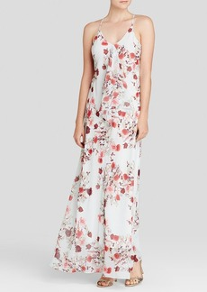 Cynthia Steffe Maxi Dress - Gabi Sleeveless V-Neck Floral Print Chiffon