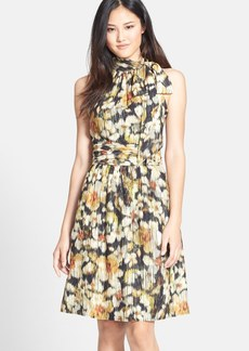 Cynthia Steffe 'Meera' Floral Tie Neck Fit & Flare Dress