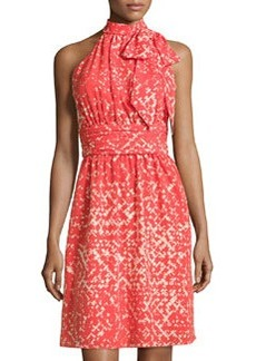 Cynthia Steffe Meera Sleeveless Printed Tie-Neck Dress, Flame