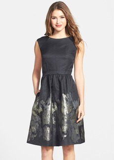 Cynthia Steffe Metallic Floral Fit & Flare Dress