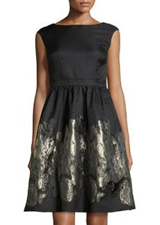 Cynthia Steffe Metallic Floral Fit-and-Flare Dress, Fairy Dust