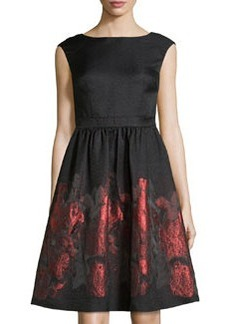 Cynthia Steffe Metallic Floral Fit-and-Flare Dress, Rich Black