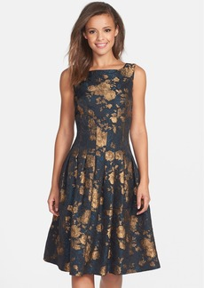 Cynthia Steffe Metallic Floral Jacquard Fit & Flare Dress