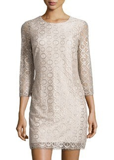 Cynthia Steffe Metallic Lace Shift Dress, Ceramic