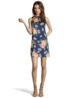 Cynthia Steffe night teal floral print sateen 'Kenna' mandarin collar shift dress