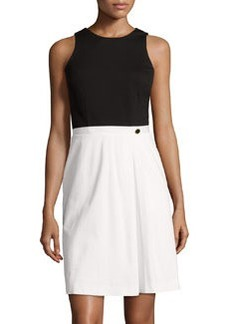 Cynthia Steffe Pia Pleated Sleeveless Dress, Light Cream/Black