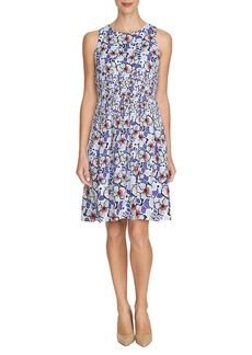 Cynthia Steffe Pleated Floral Satin Fit & Flare Dress