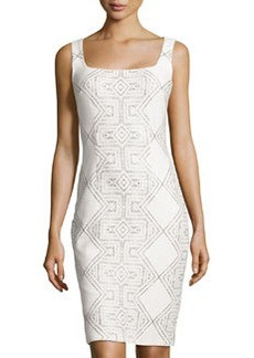 Cynthia Steffe Printed Square-Neck Sheath Dress, Cream