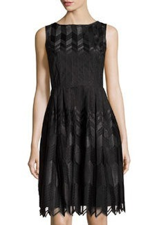 Cynthia Steffe Sleeveless Fit-and-Flare Chevron Dress, Rich Black