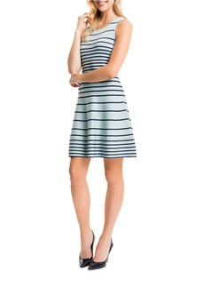 CYNTHIA STEFFE Striped Fit-and-Flare Dress