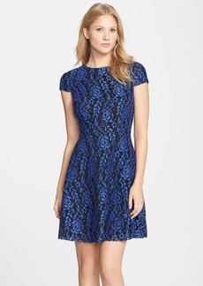 Cynthia Steffe 'Textured Rose' Lace Fit & Flare Dress