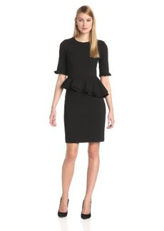 Cynthia Steffe Women's Louella Ponte Asymetrical Peplum Dress