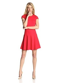 Cynthia Steffe Women's Tink Ponte Cap Sleeve Fit and Flare Dress