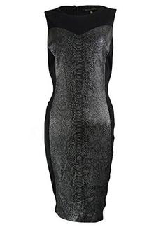 Cynthia Steffe Women's Vanna Snake Print Ponte Dress, Silver/Black, 8