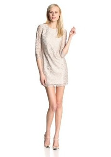 Cynthia Steffe Women's Vida Metallic Lace Three-Quarter Sleeve Shift Dress