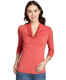 Lafayette 148 New York rosewater stretch cowl neck three-quarter sleeve top