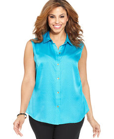 Jones New York Collection Plus Size Sleeveless Polka-Dot Shirt