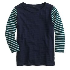 Stripe-sleeve tee