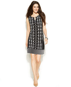 Alfani Petite Sleeveless Graphic-Print Dress