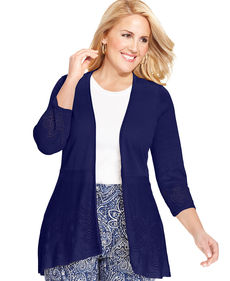Charter Club Plus Size Three-Quarter-Sleeve Pointelle Cardigan