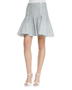 Rebecca Taylor Tweed Zip-Front Flounce Skirt