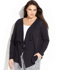 MICHAEL Michael Kors Plus Size Long-Sleeve Draped Cardigan